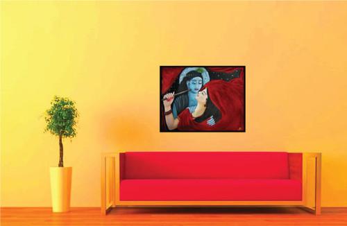 Radha Krishna Rasalila02 - 16in X 12in (Canvas Board ...