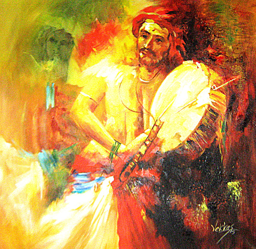 A Musician   Handpainted Art Painting   32in X 32in