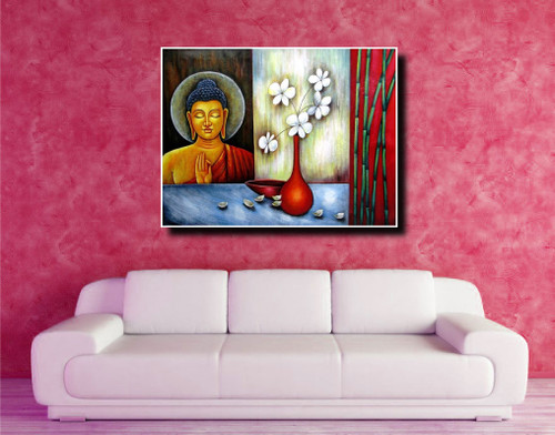 Vesakha - 48in X 36in,RAJEAR14_4836,Acrylic Colors,Buddha,Peace ...