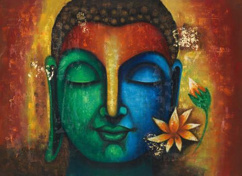 Multicolor Francoise Nielly Portraits Handmade Oil: Buy Calm Peaceful Buddha Handmade Painting By Community