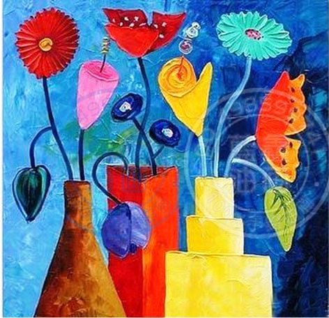 Buy Flower Vases With Blue Background By Community Artists Group Rs