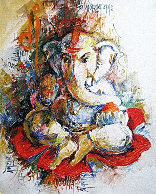 Buy Lord Ganesh 8 Flower By Vekkas Mahalley@ Rs. 7190. CodeART_VSMY96_2430 - Shop Art Paintings ...