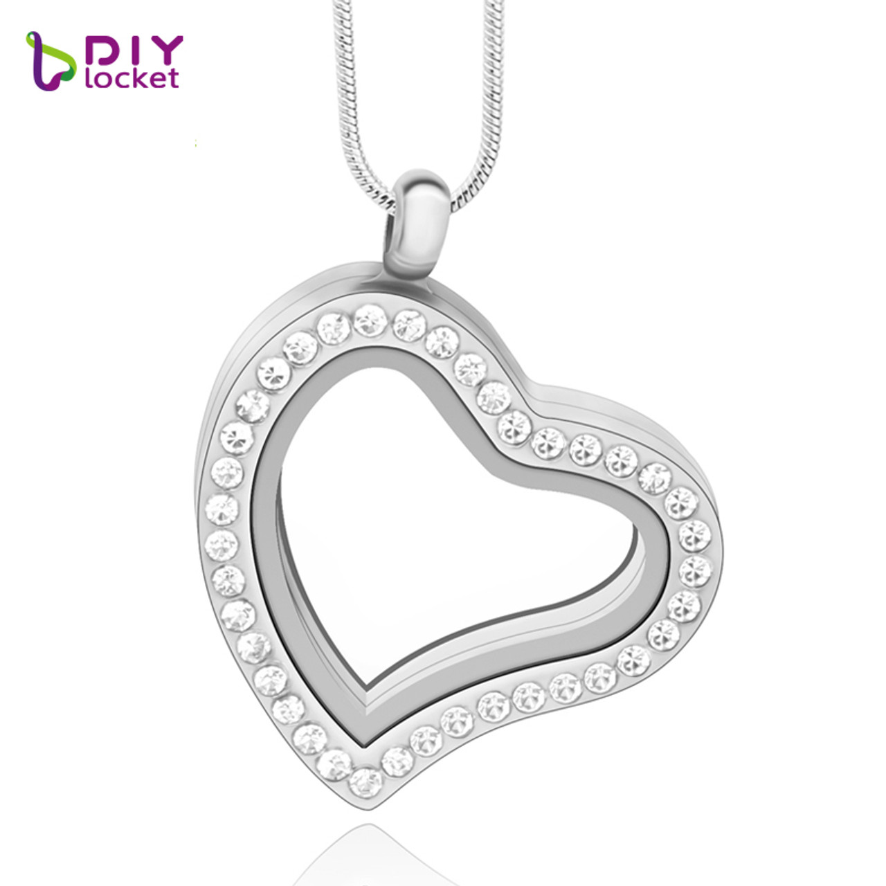 Diylocket jewelry wholesale hot superior quality silver heart fashion silver rhinestones floating heart charm glass heart shaped floating charm locket lsfl03 1 mozeypictures Images