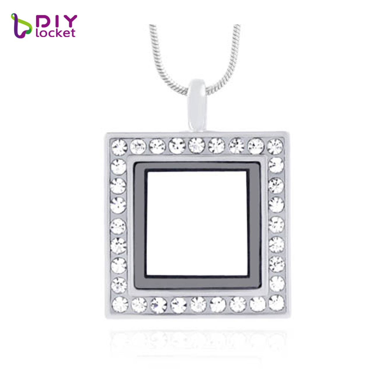 Silver floating charm living memory square crystal glass locket silver square rhinestones glass photo locket pendant necklace wholesale women jewelry lsfl011 1 aloadofball Choice Image