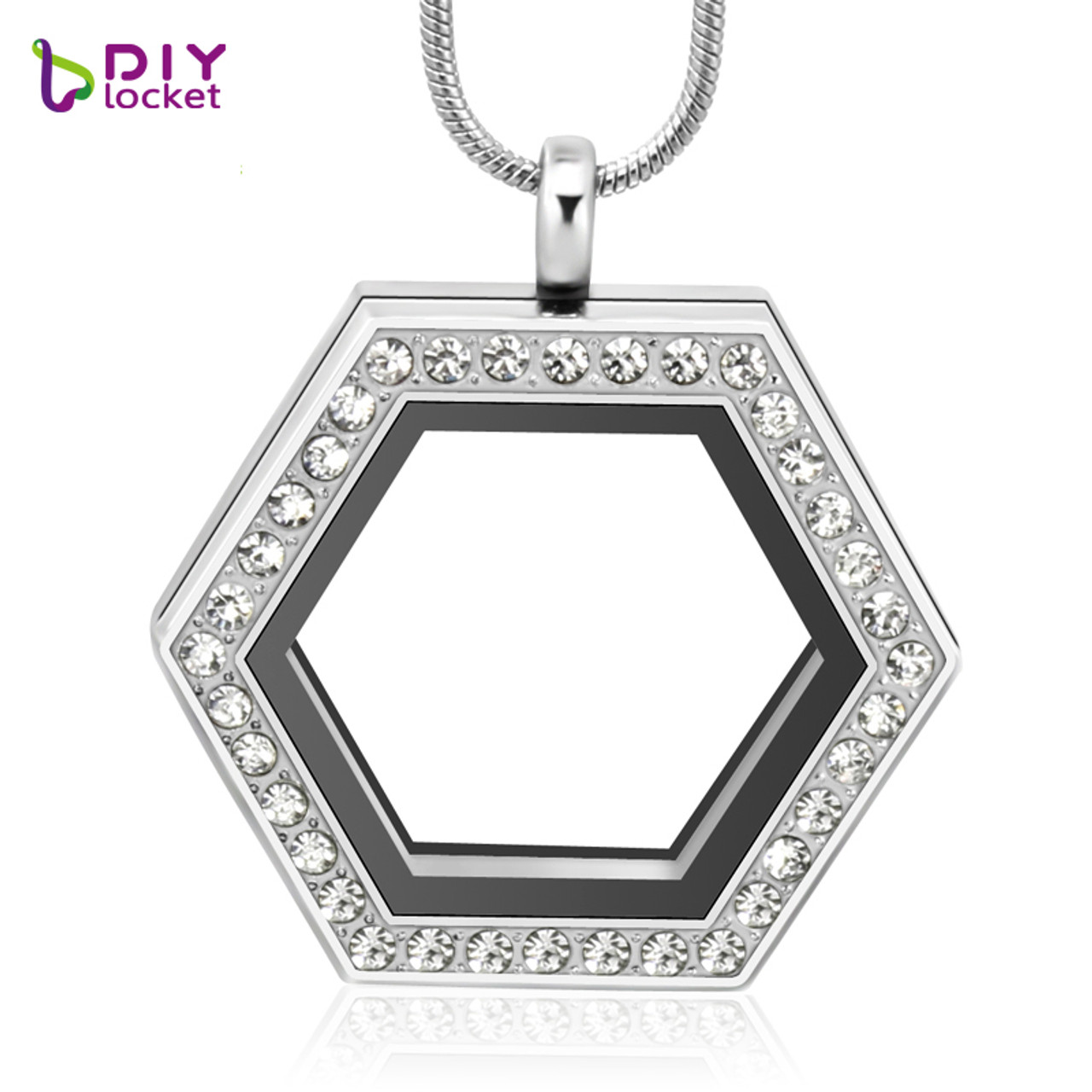 Diylocket jewelry wholesale sexangle locket pendant magnetic silver small charms for lockets glass memory locket pendant aloadofball Choice Image