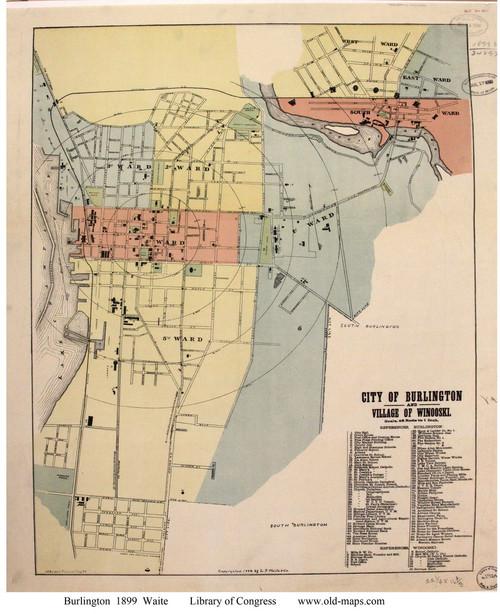 Burlington 1899 Waite - Old Map Reprint - Vermont Towns Other (Rsch)