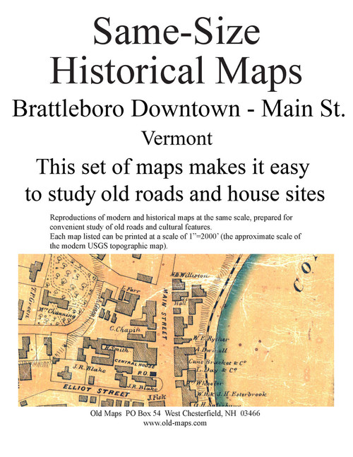Set of 11 same size Historical Maps - Brattleboro VT Downtown - 2 Main Street - Old Map