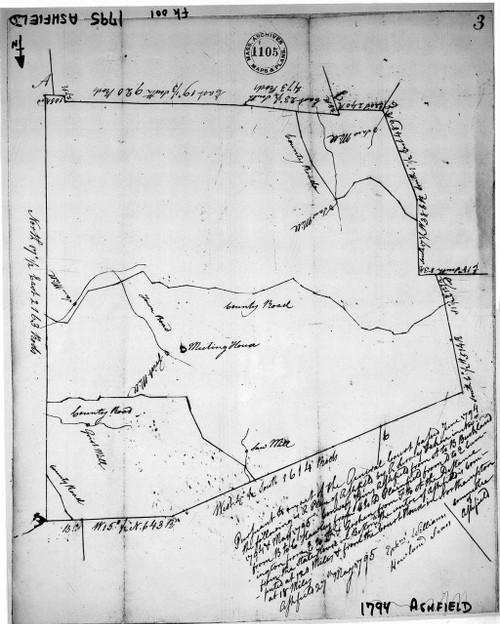Ashfield 1794 - Old Town Map - photostat