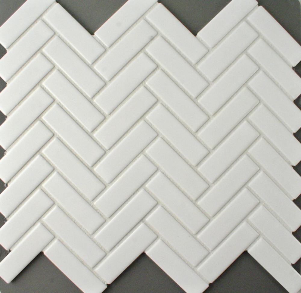 Matt White Porcelain Herringbone Mosaic