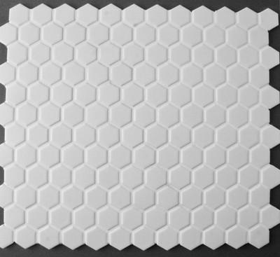 White Hexagonal Mosaic Tile Matt 23mm