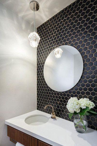 51mm Matt Black Hexagon Mosaic