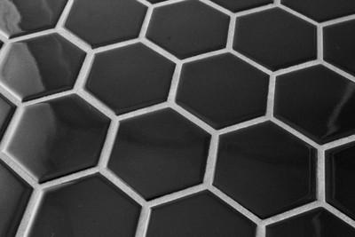 Black Gloss Hexagonal Mosaic Tile 51mm
