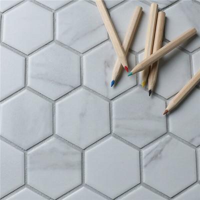 Carrara Porcelain Hexagonal Mosaic 51mm