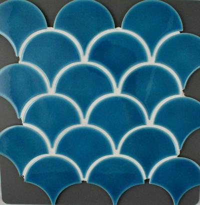 blue craquelle fish scale mosaic tile