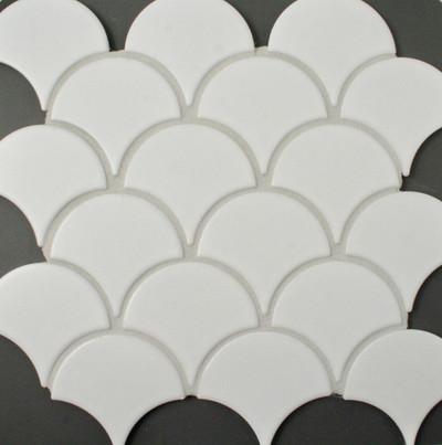 Matt White Porcelain Fan Mosaic