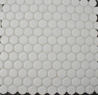 Jumbo Matt White Penny Round Mosaic