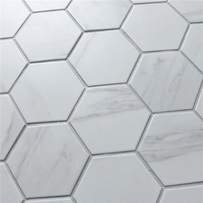 Carrara Porcelain Hexagonal Mosaic 95mm