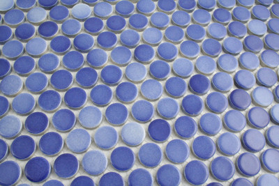 Mixed Dark Blue Gloss Penny Round Mosaic 19mm