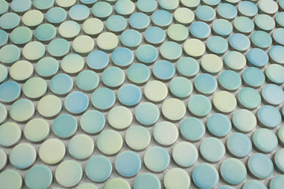 Mixed Colour Aqua Gloss Penny Round Mosaic Tiles