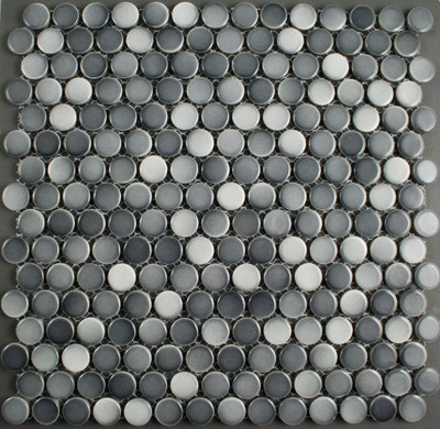 Medium Mixed Grey Gloss Penny Round Mosaic Tile