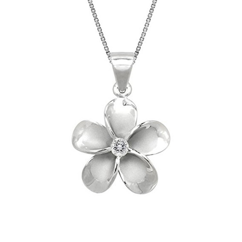 Hawaiian pendants royal hawaiian heritage jewelry sterling silver plumeria pendant 15mm aloadofball Choice Image