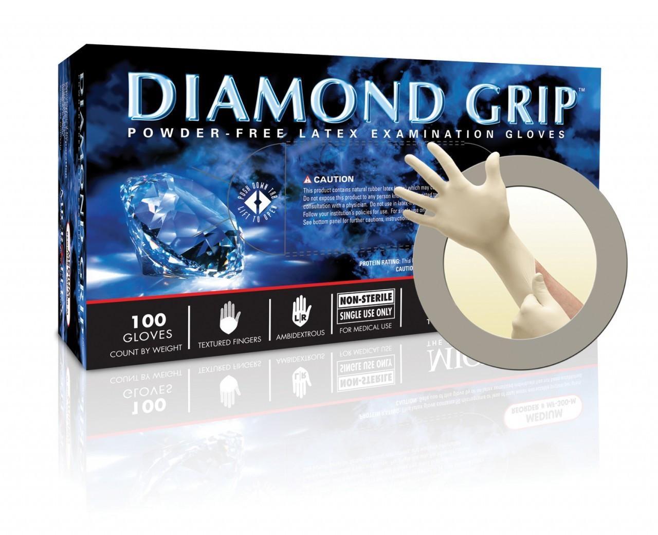 Microflex Diamond Grip LATEX Gloves - 100/Bx