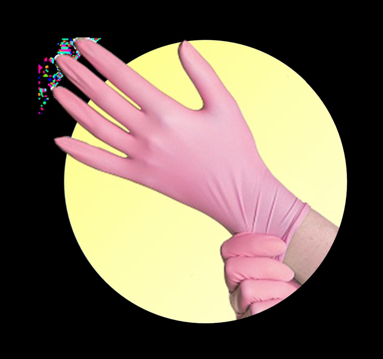 Breast Cancer Awareness Pink Nitrile Exam Gloves