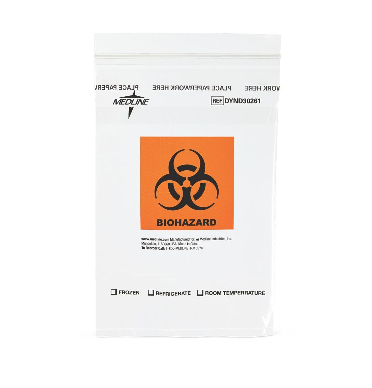 Zip-Lock Bag with Biohazard Symbol - 100 per Pack