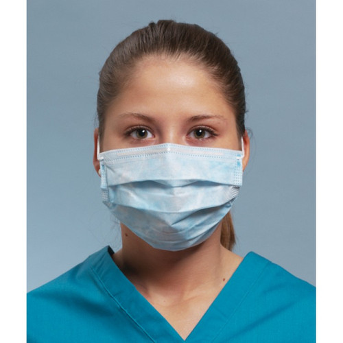 Fluid Resistant Pleated Mask with Earloops- 50 per Box