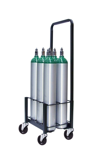 6 Pc Oxygen Cylinder Cart with 4 inch Wheels