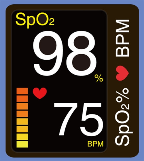 DB-11 Fingertip Pulse Oximeter with Bi-Directional Color Display