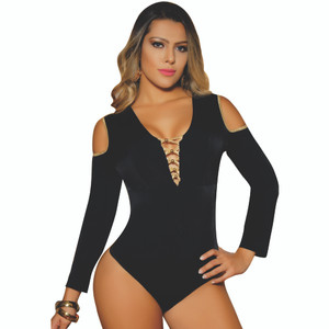 Colombian Body Blouse Shaper with Tummy Control Powernet Black