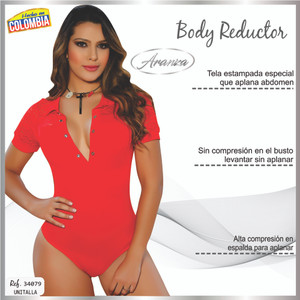 Colombian Body Blouse Shaper with Tummy Control Powernet Red 6190