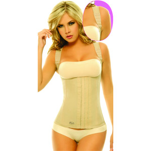 Women's Shapewear Black Color Latex Vest Girdle with Black Cotton Undercover