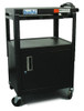 HamiltonBuhl Height adjustable AV Media cart w/ Security Cabinet and Side Pull Out Shelf