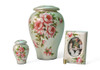 Hand Crafted Ceramic and Hand Painted Floral Memorial Urn