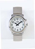 Talking 1-Button Watch - White Face, Silver Stretch Band