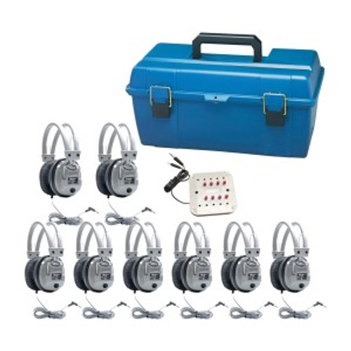 HamiltonBuhl Listening Center, 8 Station Jackbox with Volume, Deluxe Headphones with Carry Case