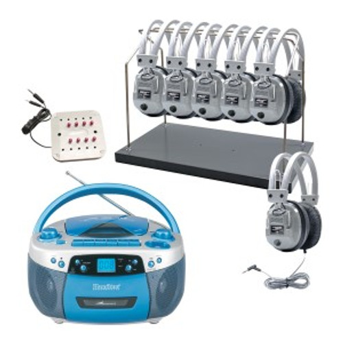HamiltonBuhl MPC-5050Plus, Deluxe 6 Station Listening Center with Headphone Rack