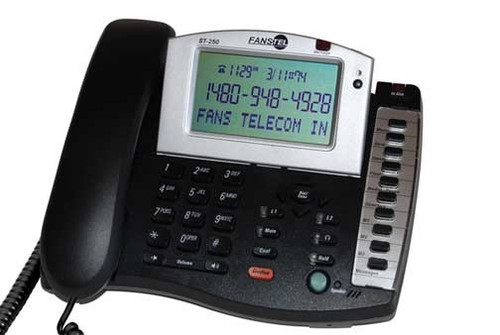 Fanstel Model ST250 Amplified Corded 2-Line Business Telephone with Extra Loud Speakerphone - Black