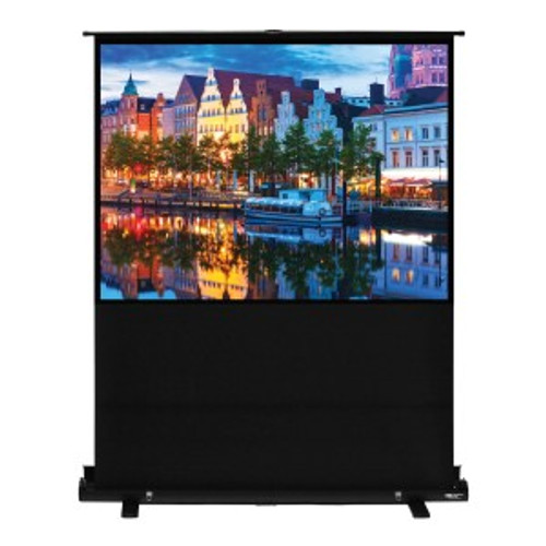 "HamiltonBuhl 100"" Diag. (60x80) Portable Floor Rising Screen, Video Format, Matte White Fabric"