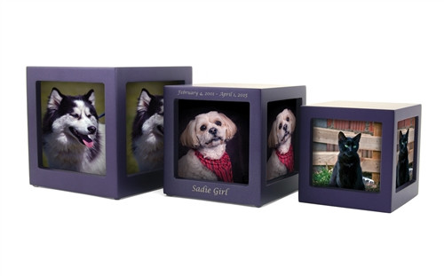 Handcrafted MDF Photo Cube Pet Urn