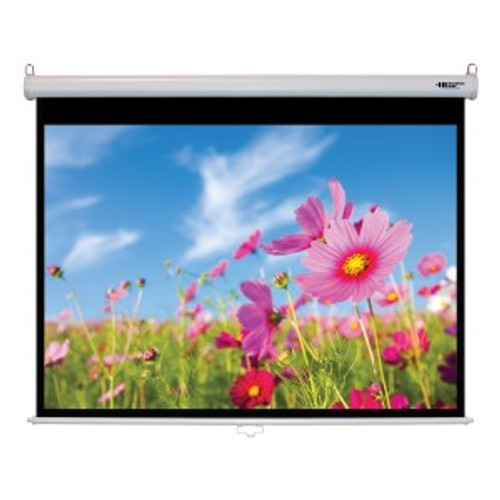 """HamiltonBuhl 84"""" Diag. (50x67) Manual Pull Down Projector Screen, Video Format, Matte White Fabric"""