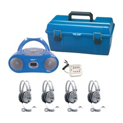 HamiltonBuhl 4 Person Listening Center with Bluetooth CD/Cassette/FM Player Boombox and Deluxe Over-Ear Headphones