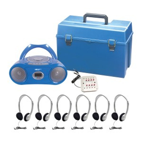 HamiltonBuhl 6 Person Listening Center with Bluetooth CD/Cassette/FM Boombox and Personal On-Ear Headphones