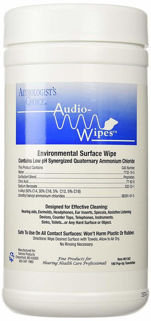 Audiowipes Towelettes - Large Canister of 160 wipes (Model 01302)