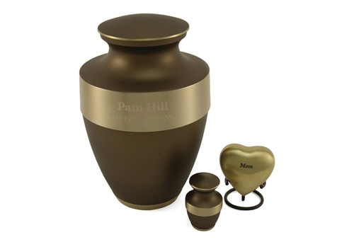 Hand Crafted Brass Lineas Rustic Memorial Urn