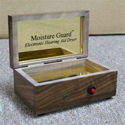 Moisture Guard Walnut Electronic Hearing Aid Dryer