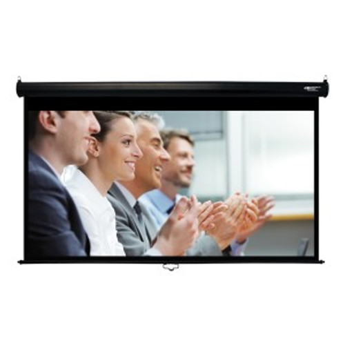"HamiltonBuhl 92"" Diag. (45x80) Manual Projector Screen, HDTV Format, Matte White Fabric - Black"