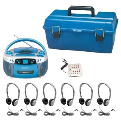 HamiltonBuhl Val-U-Pak CD Listening Center, 6 Personal Leatherette Headphones